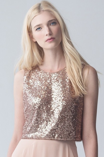 Item - Rose Gold Sequined Tulle Camri Top Modern Bridesmaid/Mob Dress Size 8 (M)
