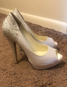 PINK White Blinged Open Toe Heel Pumps Size US 9 Regular (M, B)