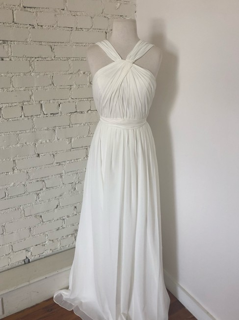 Item - Winter White Luxe Chiffon Jacqueline Formal Bridesmaid/Mob Dress Size 10 (M)
