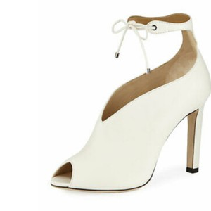 Jimmy Choo Leather Tie Peep Toe ivory cream off white Boots
