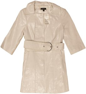 bebe Belted Silver Hardware A-line Peplum White Leather Jacket