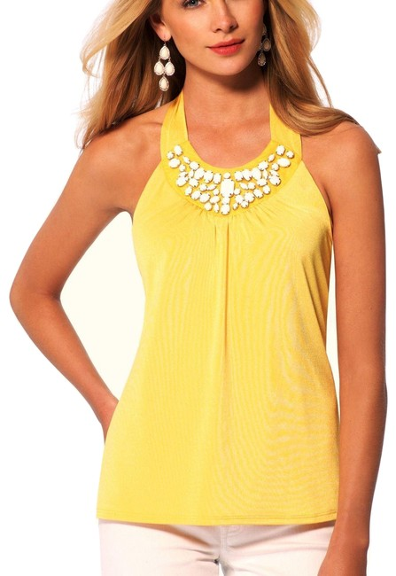 Item - Yellow XS Ruched Lined New Embellished Stretch 0/2 Halter Top Size 2 (XS)