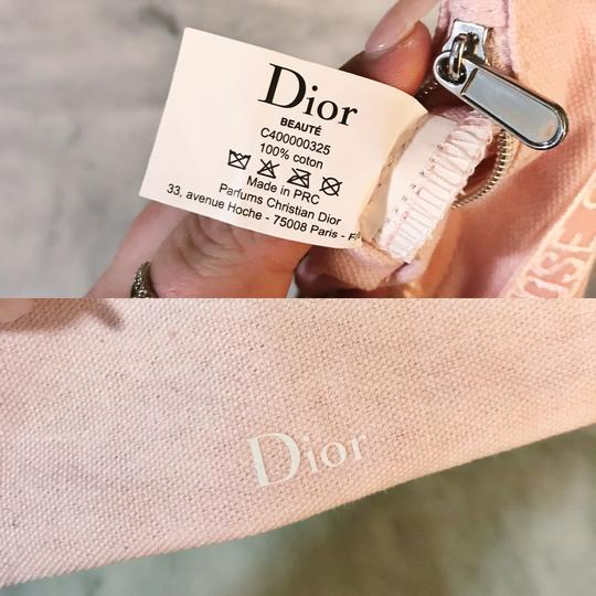 Dior Limited Edition Dior Beaute Baby Pink and White Fabric Small Zip Pouch Image 7