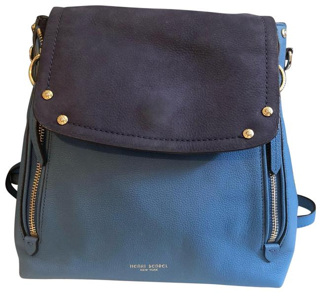 Item - Lenox 2-in-1 Convertible Light Blue/Navy Leather Backpack