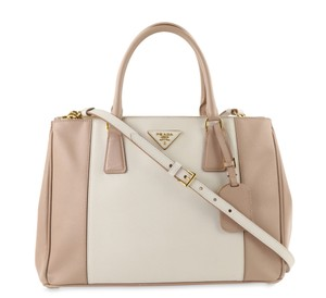 Prada Bicolor Double Zip Tote Saffiano Leather Satchel in Beige