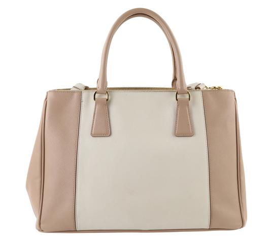 Prada Bicolor Double Zip Tote Saffiano Leather Satchel in Beige Image 1