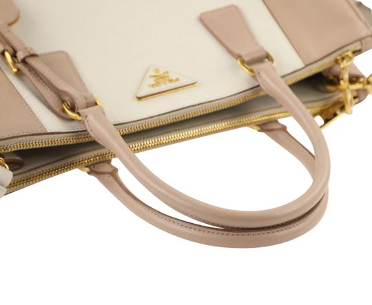 Prada Bicolor Double Zip Tote Saffiano Leather Satchel in Beige Image 10