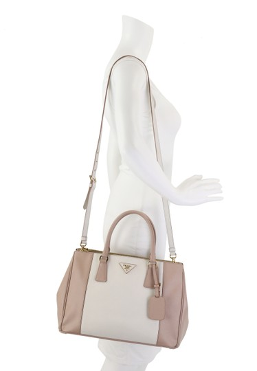 Prada Bicolor Double Zip Tote Saffiano Leather Satchel in Beige Image 11