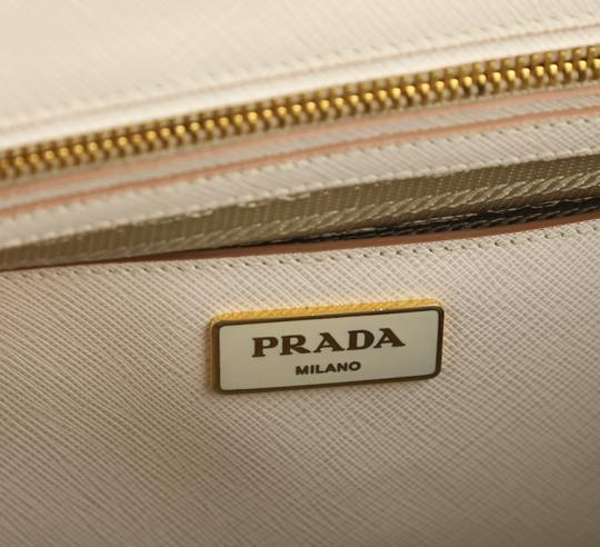 Prada Bicolor Double Zip Tote Saffiano Leather Satchel in Beige Image 8
