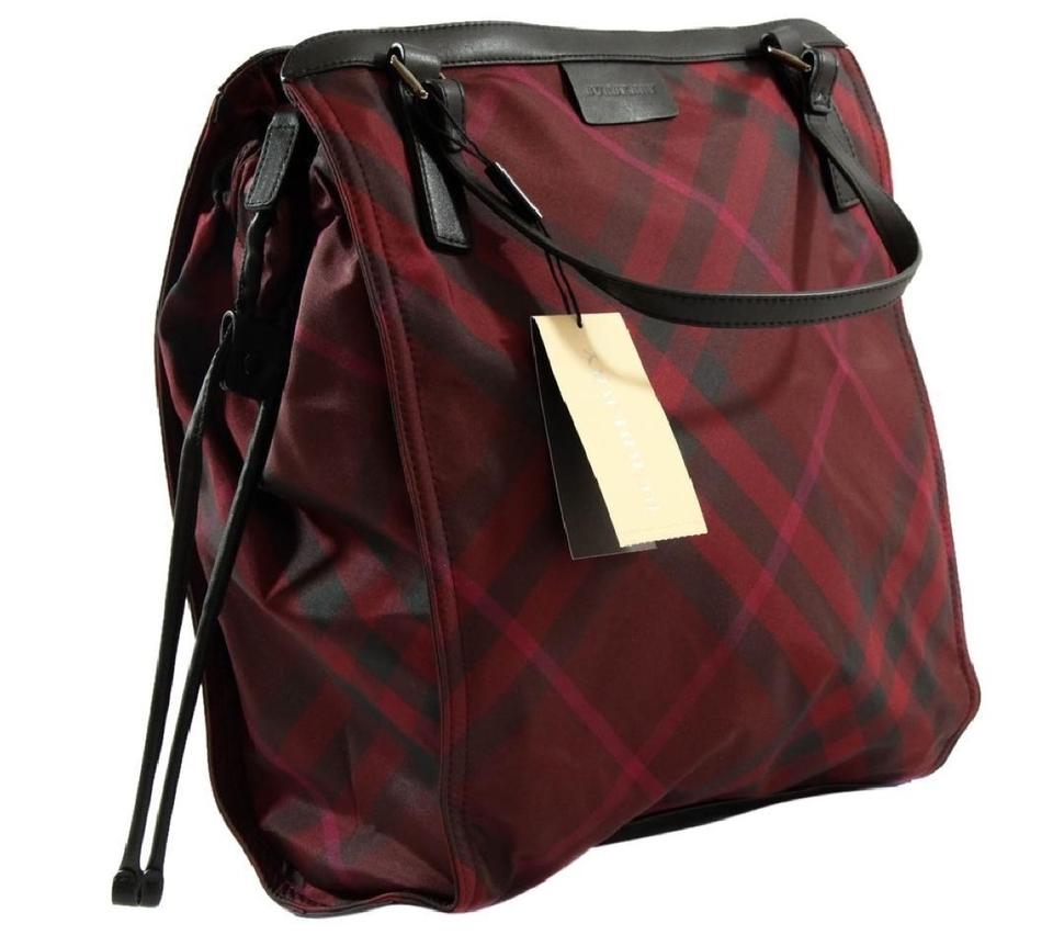 comfortable feel save up to 80% sale retailer Burberry Nova Check Burgundy Packable Nylon Red Tote 31% off retail