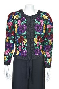 Louis Feraud Sequined French Evening Top Multi-Colored