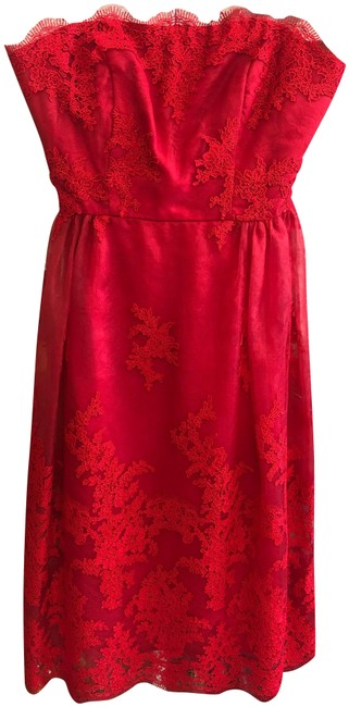 Item - Red Strapless Embroidered Lace Layered Mid-length Formal Dress Size 8 (M)