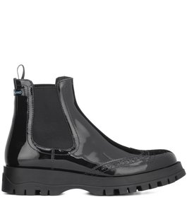 Prada Chelsea Black Patent Leather Boots