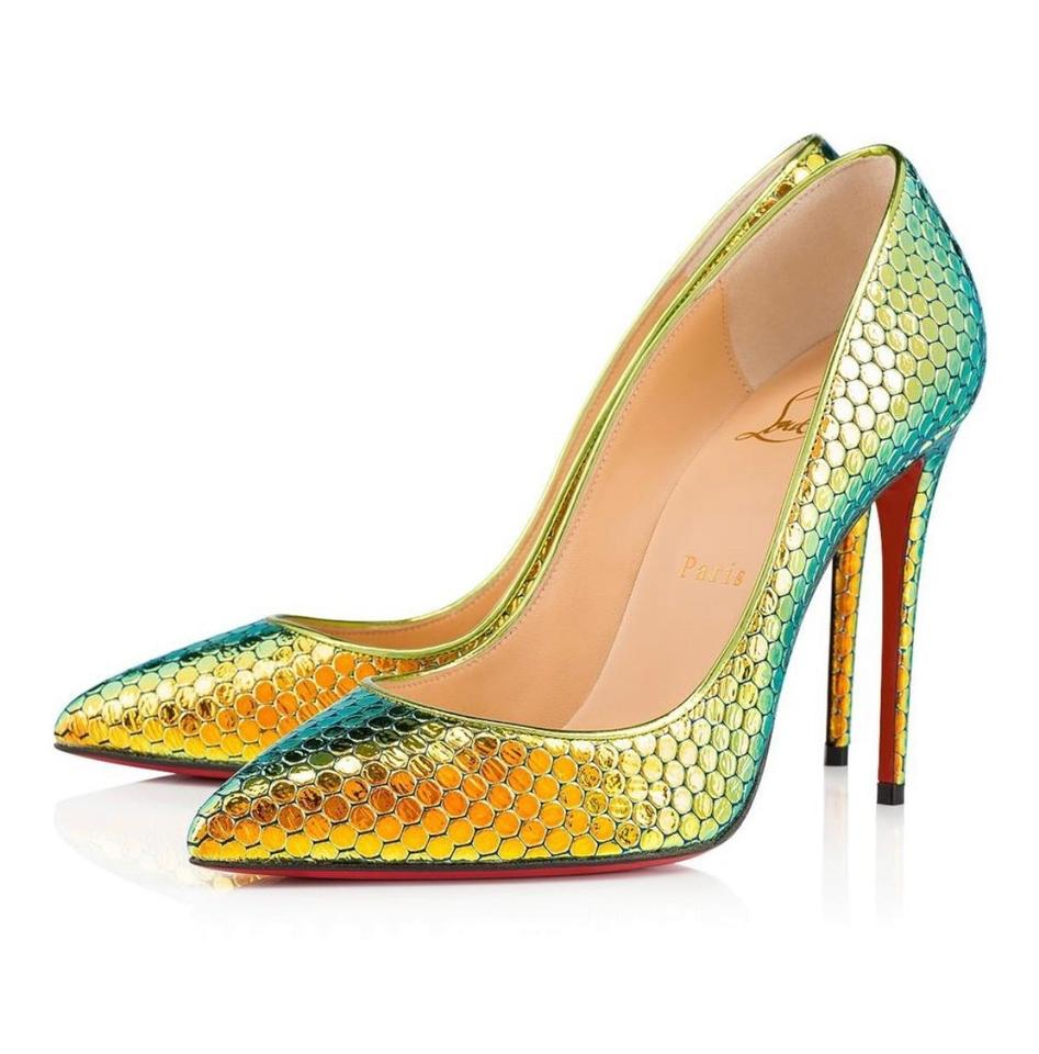 on sale 69b76 6d65a Christian Louboutin Gold Pigalle Follies Taiga Ruche Yellow Stiletto Pumps  Size EU 38 (Approx. US 8) Regular (M, B) 12% off retail
