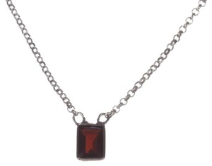 9.2.5 Alberto Juan Bezel Set Emerald Cut Red Garnet Necklace