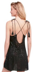 Free People Sparkle Mini Tassle Mini Holiday Sparkle Mini Strappy Open Mini Dress