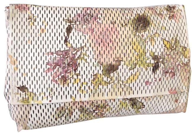 Item - Leather Perforated Floral Ivory Clutch