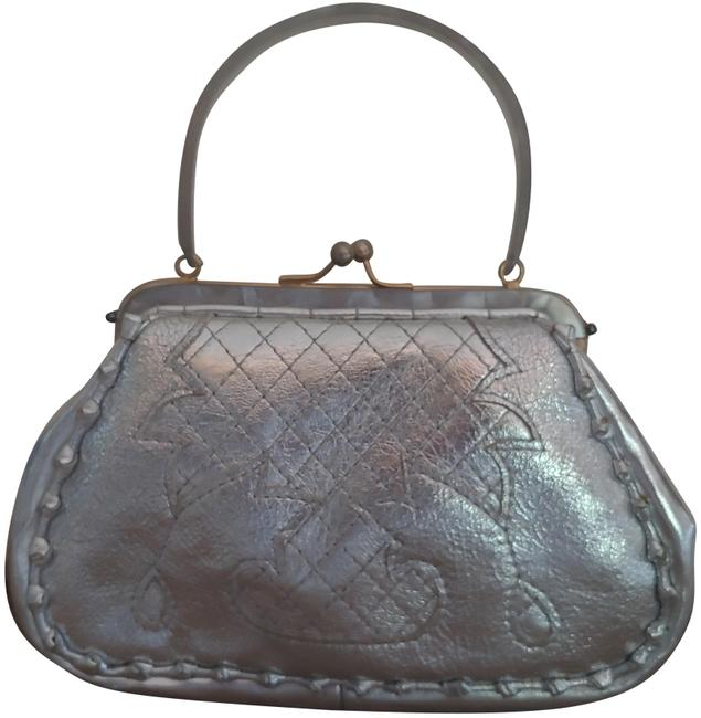 Item - Pebbled Italian Silver Leather Clutch