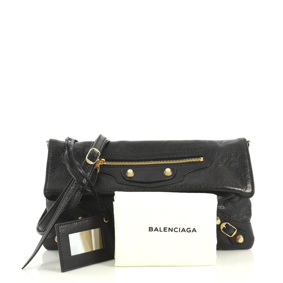great deals new arrival top-rated newest Balenciaga Envelope Strap Classic Studs Black Leather Clutch 60% off retail
