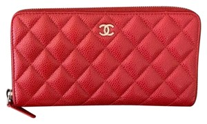 Chanel Wristlet in Dark Pink with silver hardware