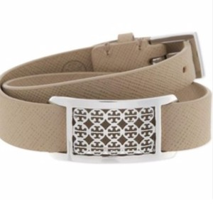 Tory Burch Tory Burch Vanilla Kinsley Double Wrap Bracelet With Silver Logo Metal