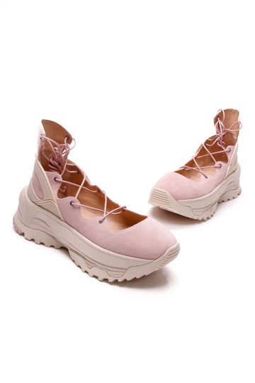 Coach Pink Lace-up Ballerina Sneakers