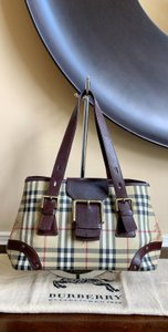 Burberry London Leather Pvc Tote in Beige, Brown, Black