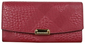 Burberry Dark Plum Leather Grain Check Porter Continental Wallet 3987316
