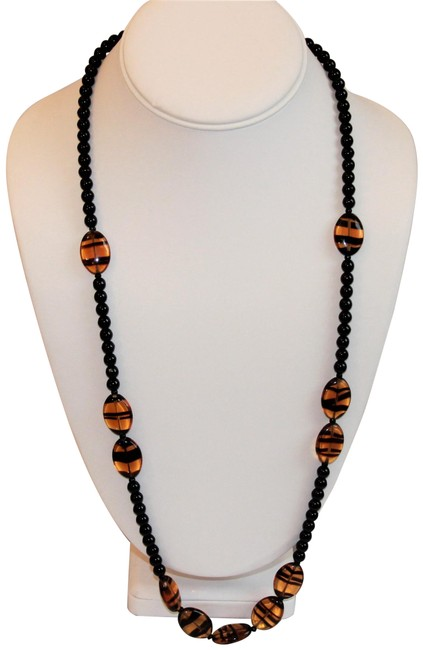 Unbranded Brown Vintage Timeless Black Glass Beads and Amber Tiger Glass Necklace Unbranded Brown Vintage Timeless Black Glass Beads and Amber Tiger Glass Necklace Image 1