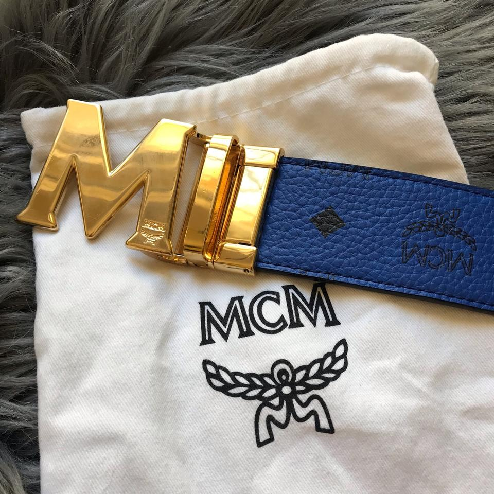 1cfe8a2f6729f MCM Blue Gold Visetos Leather Reversible Logo Belt - Tradesy
