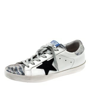 Golden Goose Deluxe Brand Leather Suede Applique White Flats