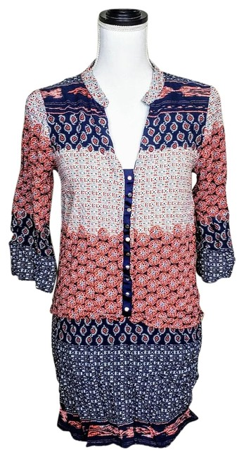 Item - Orange Blue Paisley Patchwork Basic Tunic Size 6 (S)