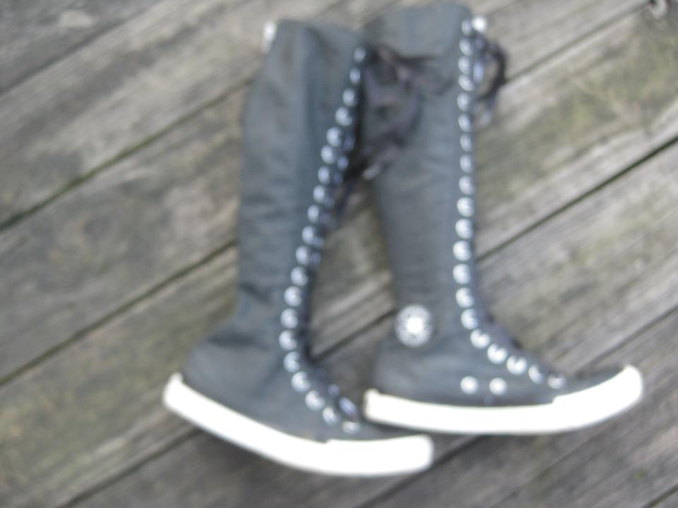 Converse All Star XXHi Black Knee High Lace Up Zip Back Sneaker Boots M 4 W 6 | eBay