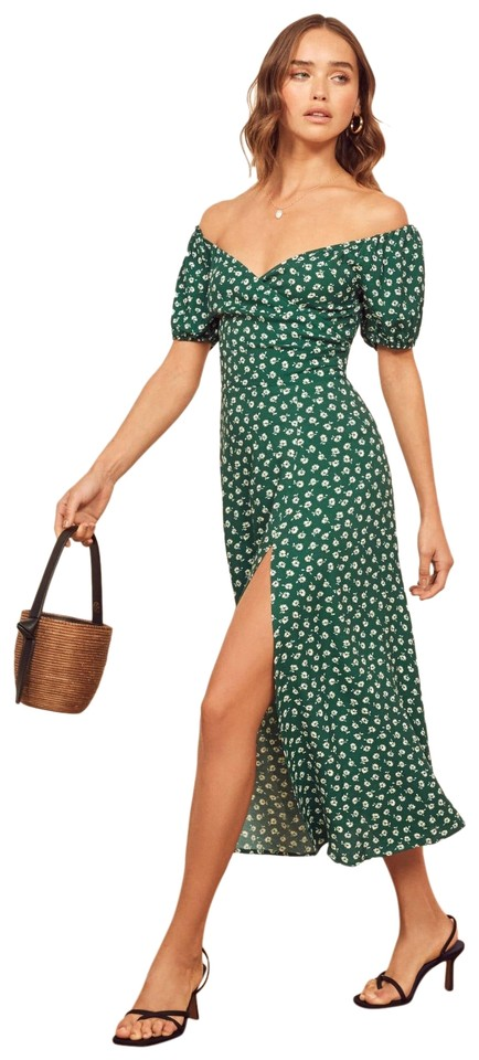 Reformation Green Pearl Floral Long Casual Maxi Dress Size