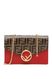 Fendi Ff Ff Logo Chain Envelope Chain Wallet Cross Body Bag