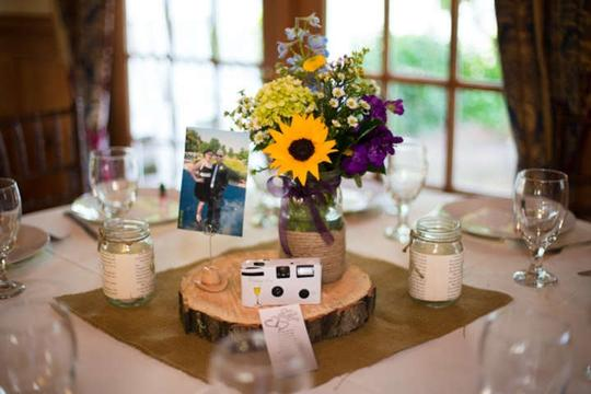 Brown Cowboy Boot and Hat Picture Holders Reception Decoration