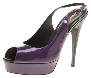 Saint Laurent Paris Patent Leather Slingback Purple Sandals