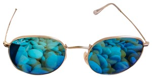 Ray-Ban Ray-Ban RB3447 112-17 Round Metal Flash Lenses Blue Sunglasses Gold