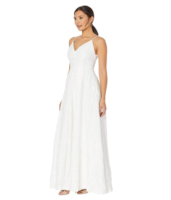 Item - White Embroidered Gown Long Formal Dress Size 4 (S)