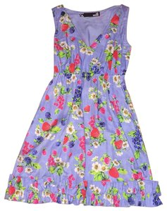 Love Moschino short dress Blue with flowers and berries on Tradesy