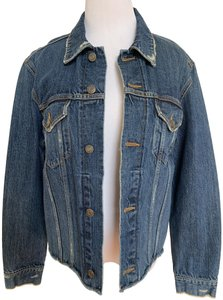 Vince Distressed Button Womens Jean Jacket