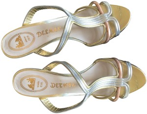 Delman Multi-Color Gold, Silver, Rose Gold Mules
