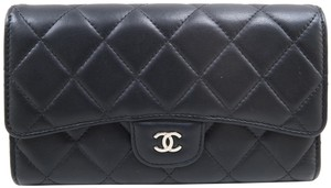 Chanel Chanel Black Calfskin Quilted Trifold Wallet