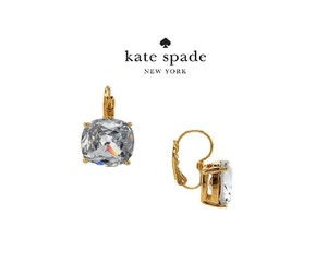 Kate Spade KS Luminous Sparkle Clear Crystal Square Leverback Gold Tone Earrings