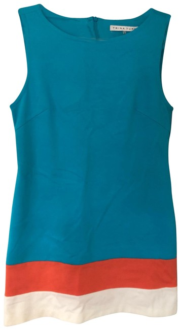Item - Turquoise and Orange Cheers Colorblock Shift Short Cocktail Dress Size 6 (S)