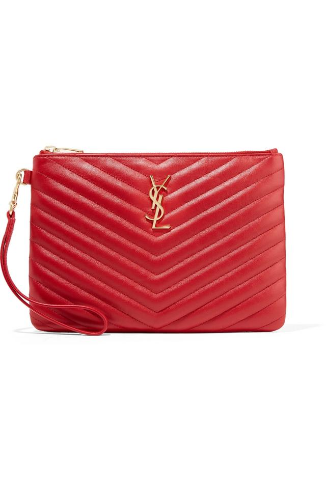4a10379bfa4 Saint Laurent Ysl Monogram Quilted Pouch Red Leather Wristlet - Tradesy