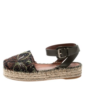 Valentino Embroidered Leather Ankle Espadrille Green Flats