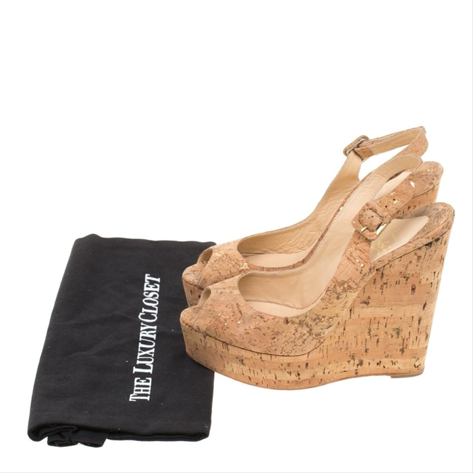 3a860bc8486 Christian Louboutin Beige Cork Une Plume Peep Toe Slingback Wedges Sandals  Size EU 39 (Approx. US 9) Regular (M, B) 27% off retail