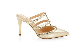 Valentino Studded Pointed Toe Leather Ankle Strap Branded Insole gold Mules