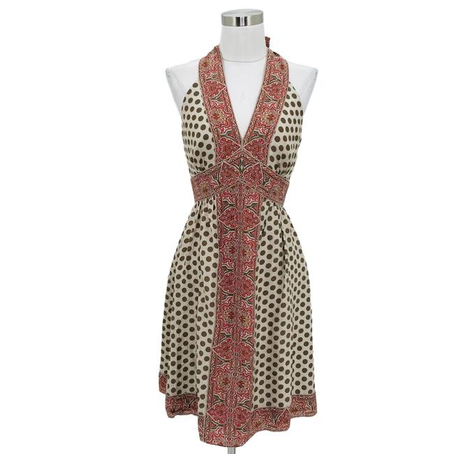 Item - Brown Red N271 Small Polka Dot Flare Mid-length Night Out Dress Size 6 (S)